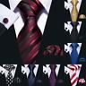 Men's Tie Set Necktie Red Black Blue Gold Pink Silk  Pocket Square Cufflinks USA