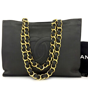 CHANEL CC Logo Lambskin Chain Large Shoulder Tote Bag Black /81477