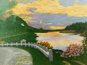 Sunset On Columbia River Scenic Pacific Northwest Linen Vintage Postcard