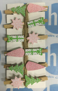 Christmas  12 Pegs Card Holders With String Hanging Decoration Trees Stars Gifts