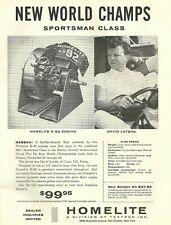 Vintage & Rare 1960 Homelite K-92 Engine Go-Kart Ad