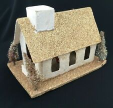 VTG Christmas Village Cardboard House Putz House LARGE GOLD CHURCH 4 TREES