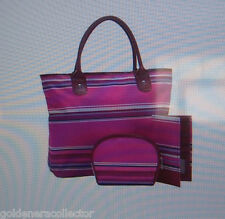 Striped Tote Set, Cosmetics Case, Wallet, HANDBAG PURSE NEW  Woman Within 3 PC