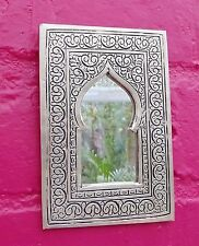 Hand Crafted* MOROCCAN ENGRAVED SILVER COLOUR POINTED ARCHED  MIRROR 13cm x 9cm