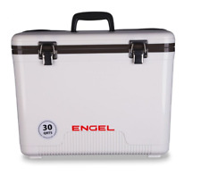 NEW DESIGN 2018 ! Engel Cooler Dry Box WHITE 30 Quart w/ Shoulder Strap and Tray
