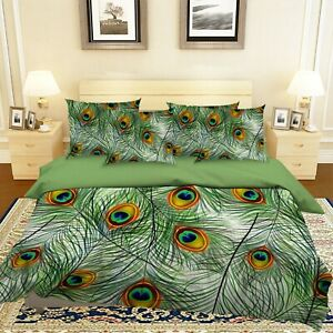 3D Green Peacock Feather KEP312 Bed Pillowcases Quilt Duvet Cover Kay
