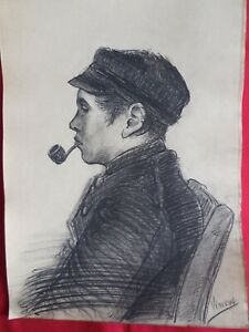 BEST, Old master,Modern,Rare drawings,Man with pipe,original charcoal,Wall decor