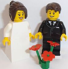 Lego Bride and Groom with Dark Brown Wigs *CHANGES TO HAIR AVAILABLE