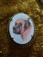 English Mastiff Bullmastiff Dog vintage like brass pin brooch jewelry