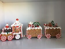 """NEW! RAZ Imports 22 1/2"""" GINGERBREAD PEPPERMINT CANDY CANE TRAIN Christmas"""