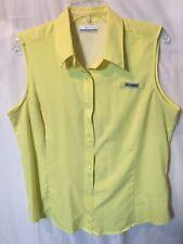 Columbia Women's Yellow Sleeveless Performance Fishing Gear Casual Shirt Size L