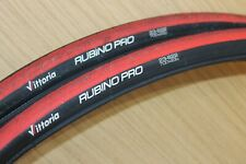 Vittoria RUBINO PRO 700 x 23c Road Bike Pair Black Red 2 x Tyres Folding Bead 23