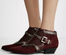 NEW Free People Valor Vegan Ankle Boots Size 8 Studded Burgundy