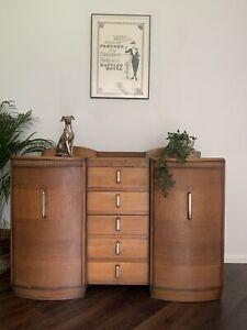 Art Deco Sideboard Genuine 1930's Solid Light Oak w Brass Handles