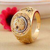 Herren Edelstahl Ring 750 Echt Vergoldet Lion Eagle Star Gold Ring Gr.20 Neu