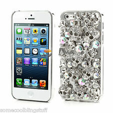 COOL LUXURY BLING SILVER SKULL DIAMANTE PROTECTIVE CASE COVER FOR IPHONE 5 5s