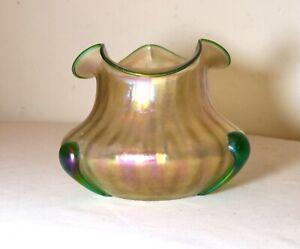 antique hand blown Bohemian Loetz aurene iridescent ribbed studio glass vase