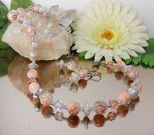 2er SET / Bezauberndes GLAS Perlen COLLIER + Ohrhänger in Apricot Pfirsich