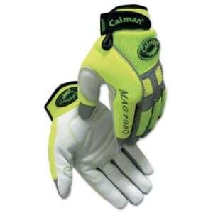 Caiman White Goat Grain Leather Multi-Activity Gloves 710927298045