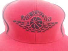 AIR JORDAN RED & BLACK 100% WOOL CAP/ HAT SIZE 7 & 1/4 JUST $39!