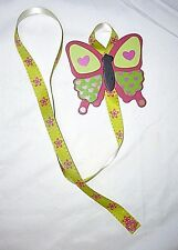 butterfly pink lime green ribbon barrette bow hair accessories storage handmade