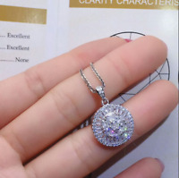 1.80 Ct Round Cut Diamond Cluster Halo Necklace Pendant 14K White Gold Finish
