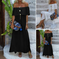 Womens Party Off Shoulder Bardot Plain Loose Summer Beach Split Long Maxi Dress