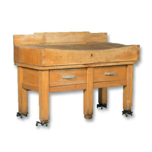 Early 20th Century Antique French Maple Butcher's