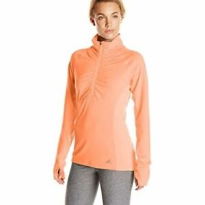 adidas Ultimate Climalite Long Sleeve 1/2  Zip Ruched Jacket Flash Orange Size L