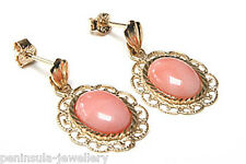 9ct Gold Coral Filigree Drop dangly earrings Gift Boxed Made in UK