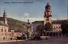Salzburg Österreich AK ~1910/20 Residenzplatz Brunnen Glockenspiel Stadt Häuser