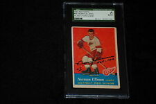 HOF NORM ULLMAN 1957-58 TOPPS ROOKIE SIGNED AUTOGRAPHED CARD #46  SGC SLABBED
