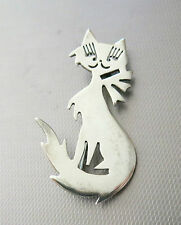 "2 1/2"" Cute Face Long Lashes Wonderful 925 Sterling Silver Cat Brooch Pin"