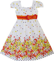 Sunny Fashion Girls Dress Short Sleeve Butterfly Dot School Uniform Age 2-10