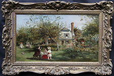 THOMAS FALCON MARSHAL 1818-1878 BRITISH VICTORIAN OIL PAINTING ART CHILDREN ORCH