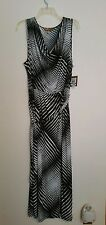 Ellen Tracy Sleeveless Stretchy Draped Neck Maxi Dress; Black & White, Size L