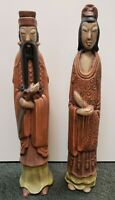 Pair of Mid 20th Century Chinese Imperial Court Man and Lady Ceramic Sculptures