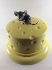 Vintage 1950s Lefton? China 2 PC Mouse and Yellow Cheese Dome Covered Dish Plate