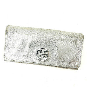 Tory Burch Wallet Purse Long Wallet Silver Woman Authentic Used L1313