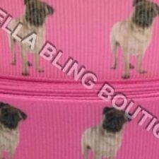 "3 METRES PINK PUG DOG GROSGRAIN RIBBON 22mm 7/8"""