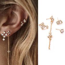 Ear Crystal Cross Stud Jewelry Gift 4Pcs/Set Bohemian Long Dangle Chain Earrings