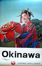 JAPAN AIRLINES OKINAWA Vintage 1965 Travel poster GEISHA