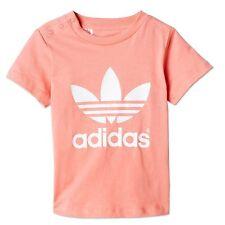 Adidas Originals Trefoil bebé niña camiseta tiempo libre ROSAS ROSA BLANCO 80
