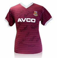 PROOF 1986 WEST HAM TEAM MULTI SIGNED AVCO SHIRT BY 12 WITH TAGS COA AUTOGRAPHS