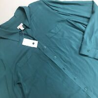 Chicos Challis Drape Dimitri Button Down Shirt Top Blouse Gem Teal Size 3 NWT XL