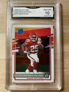 🔥 Clyde Edwards-Helaire 2020 Optic Rated Rookie Base #171 RC GMA Grade 10