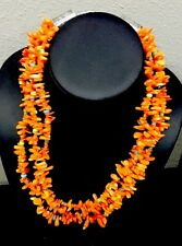 Native American 3 Strand  Coral Necklace Turquoise Rare Clearance