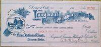 Longmont Farmers Milling & Elevator 1920 Bank Check - Denver, Colorado CO