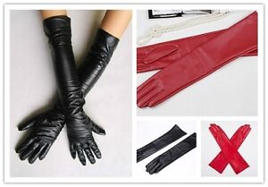 Women's Faux Leather Long Gloves Evening Party Fashion Warm Gloves Touchscreen