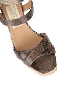 SALVATORE FERRAGAMO Cork and snakeskin wedge sandals SIZE US 7 1/2 37.5 UK 4.5